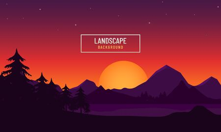 Mountains landscape with lake. Natural background design in sunset concept.