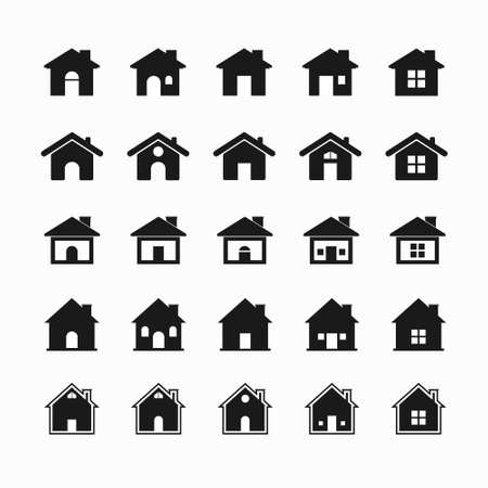 house icon set with black color. vector illustration.