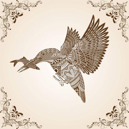 asian art: Kingfisher Bird Thai Pattern Vector Illustration,Asian art.