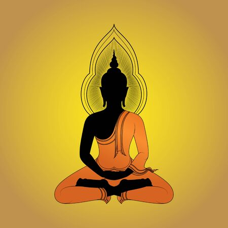 believes: Buddha silhouette against gold background Vector illustration, Asian Art.