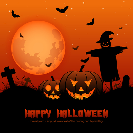 ghost town: Halloween background with silhouettes,Vector Illustration.