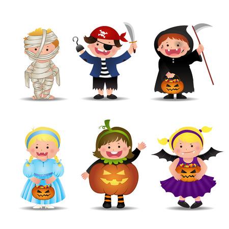 Cartoon Cute Halloween Kids In Trick Or Treat Costumes, vector Illustration. Illustration
