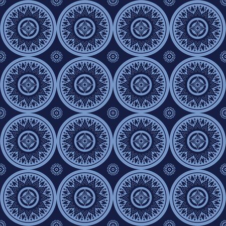thai silk: Asian Art  Blue Concept Abstract Background, Vector Illustration.