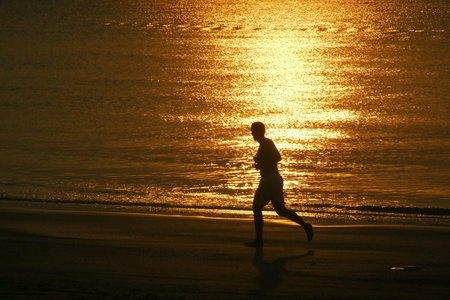 excercise: Morning excercise on beach