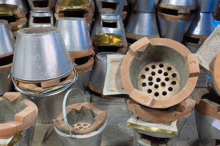 brick kiln: Charcoal burning clay stove in store