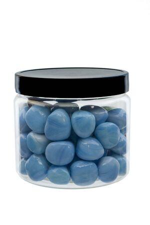 blue glass stones in a jar