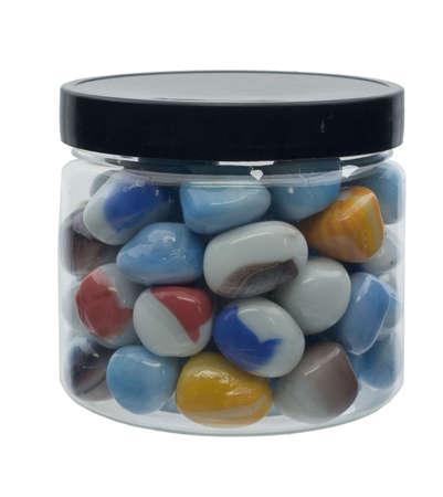 glass rocks in jar