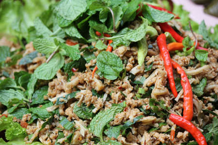 Thai Spicy minced vegetable salad  photo