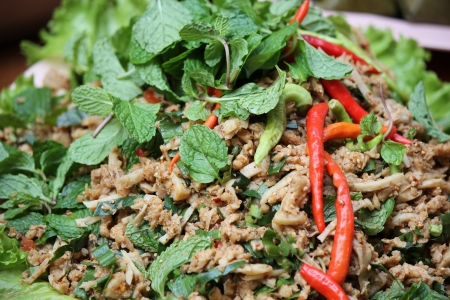 Thai Spicy minced vegetable salad  photo