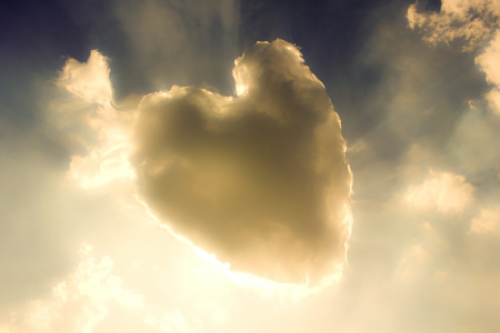 god is love: Heart from cloud on sky   Stock Photo