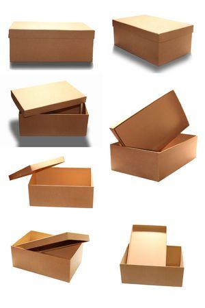shoe boxes: Cuadro marr�n