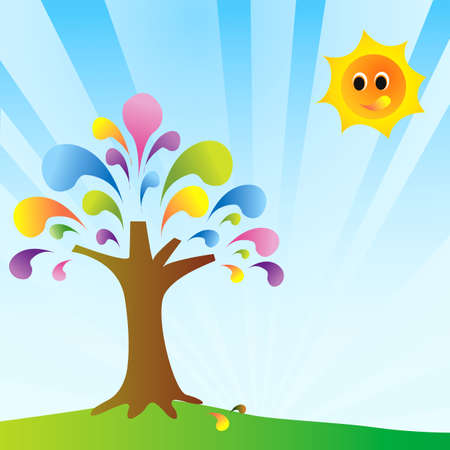 secluded: Colorful day with colorful tree