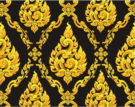 tempels: Thais design patroon achtergrond Stock Illustratie