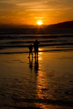 Sunset father and son  Stock Photo