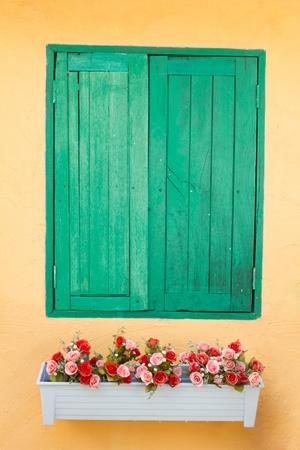 Green old wood window  Stock Photo - 8568897