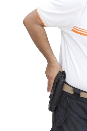 one armed: Hand hold guns Stock Photo