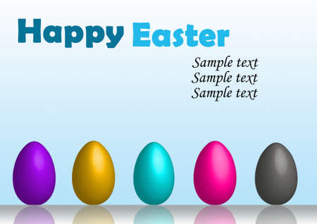 Happy easter eggs in row card photo