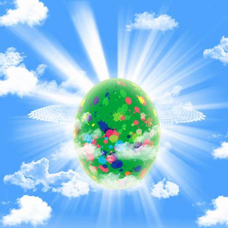 Easter egg on sky photo