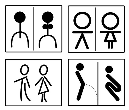 simbolo hombre mujer: conjunto de signo de tocador Vectores