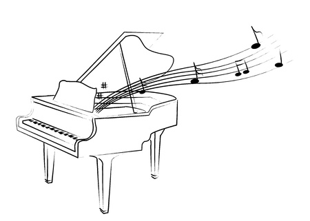 the sketch of piano with melody Stock Illustratie