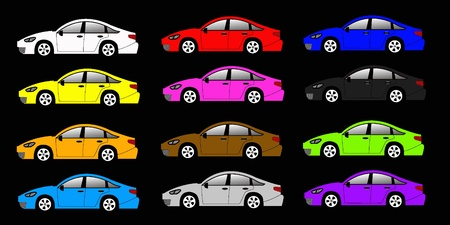 colorful car set on the black background Stock Vector - 9452117