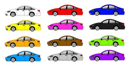 colorful car set on the white background Stock Vector - 9452123