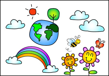 save earth: the vector kid drawing set of beautiful world and nature Illustration