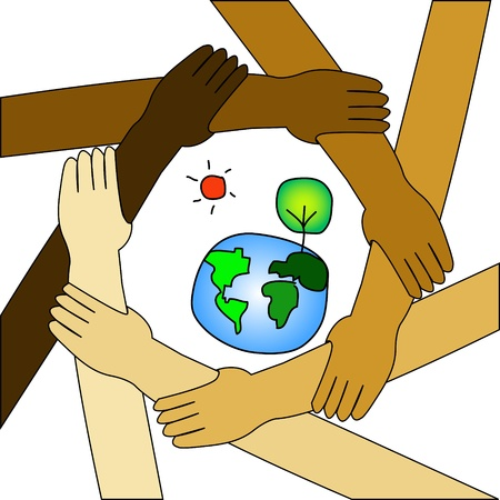 participate: international cooperate to save the world Illustration