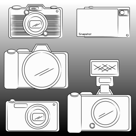 The pencil sketch of DSLR and camera  Vector