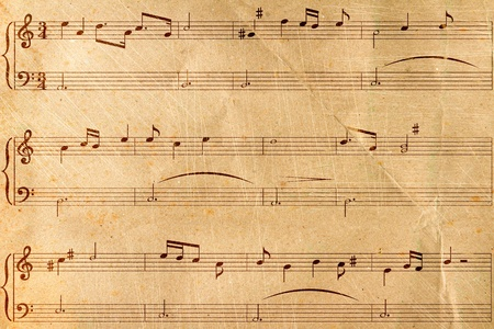 musical score: Musical notes on old paper