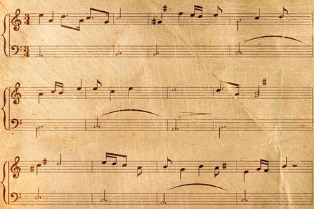 Musical notes on old paper Banco de Imagens