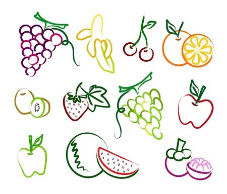 mangostano: il set di icone frutta pittura Vettoriali