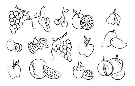 guayaba: conjunto de iconos de dibujo de frutas