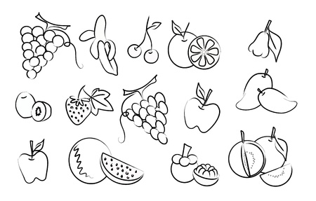 guava fruit: set of fruit drawing icons