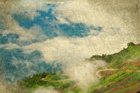 언덕의 오래 된 종이 그림
