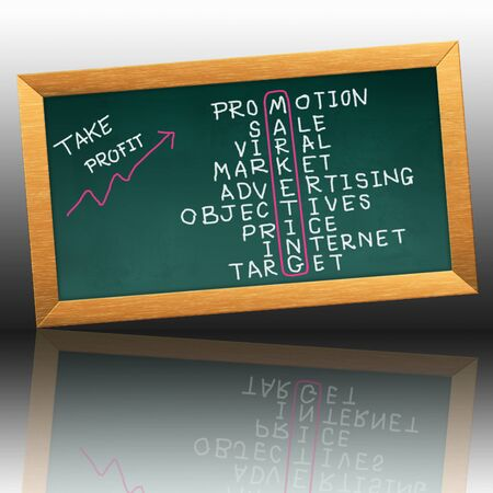 marketing concept on the blackboard Stockfoto