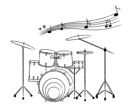 the drum set drawing on the white background and the music note
