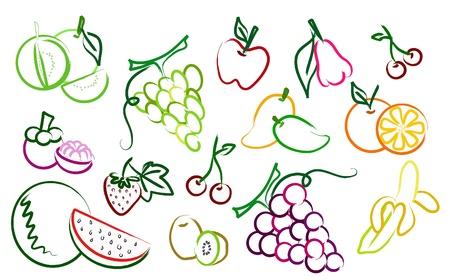 mangostano: il set di icone disegno di frutta
