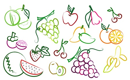 the set of fruit drawing icons Vector