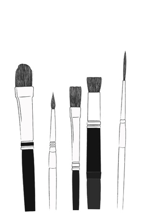 bristles: the sketch of brush set  Illustration