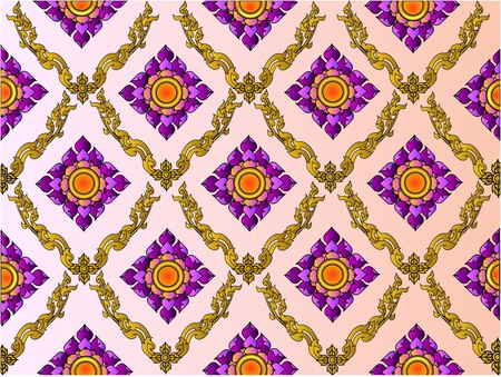 the thai lotus pattern background Stock Vector - 10684433