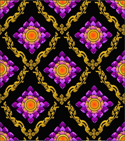 the thai lotus pattern modern sytle Vector