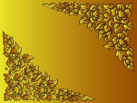 배경 또는 카드와 황금 꽃 태국 스타일 사용