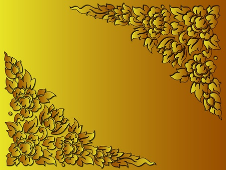 thai painting: the golden flower thai style use as background or card