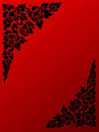 the thai classical flower pattern on the red background  photo