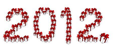 set of gift box new year 2012 Vector