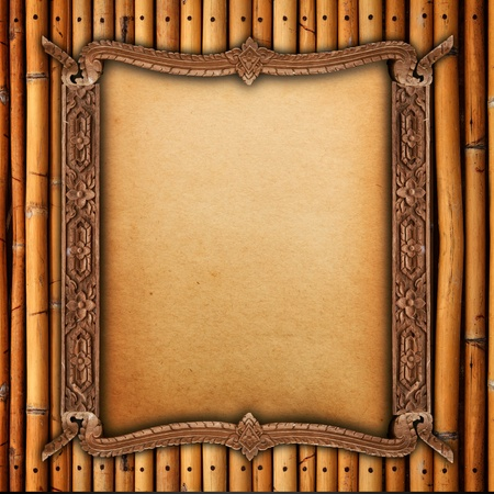 Wood frame on bamboo walls  photo