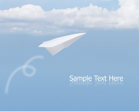 toy plane: Paper airplane in the sky
