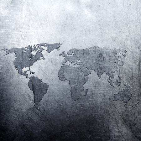 metal background world map  photo