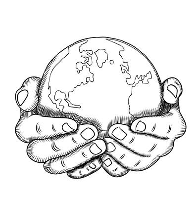 地球儀を持っている手